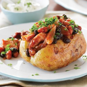 Pork and bean jacket potatoes