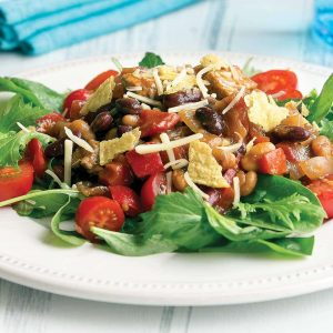 Pork and bean taco salad