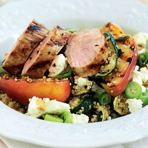 Pork and grilled apple quinoa