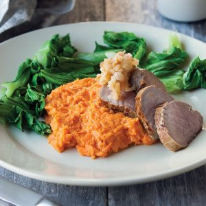 Pork fillet with roasted pumpkin mash and apple salad