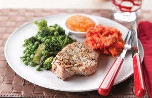 Pork in apricot sauce with herby mash