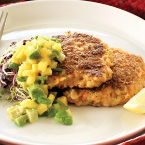 Prawn and kumara fritters with mango salsa