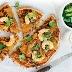 Prawn and pumpkin pizzas