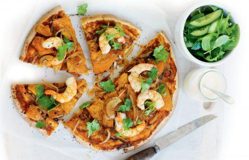 Prawn and pumpkin pizzas