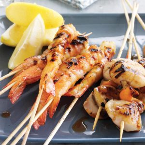 Prawn and scallop skewers