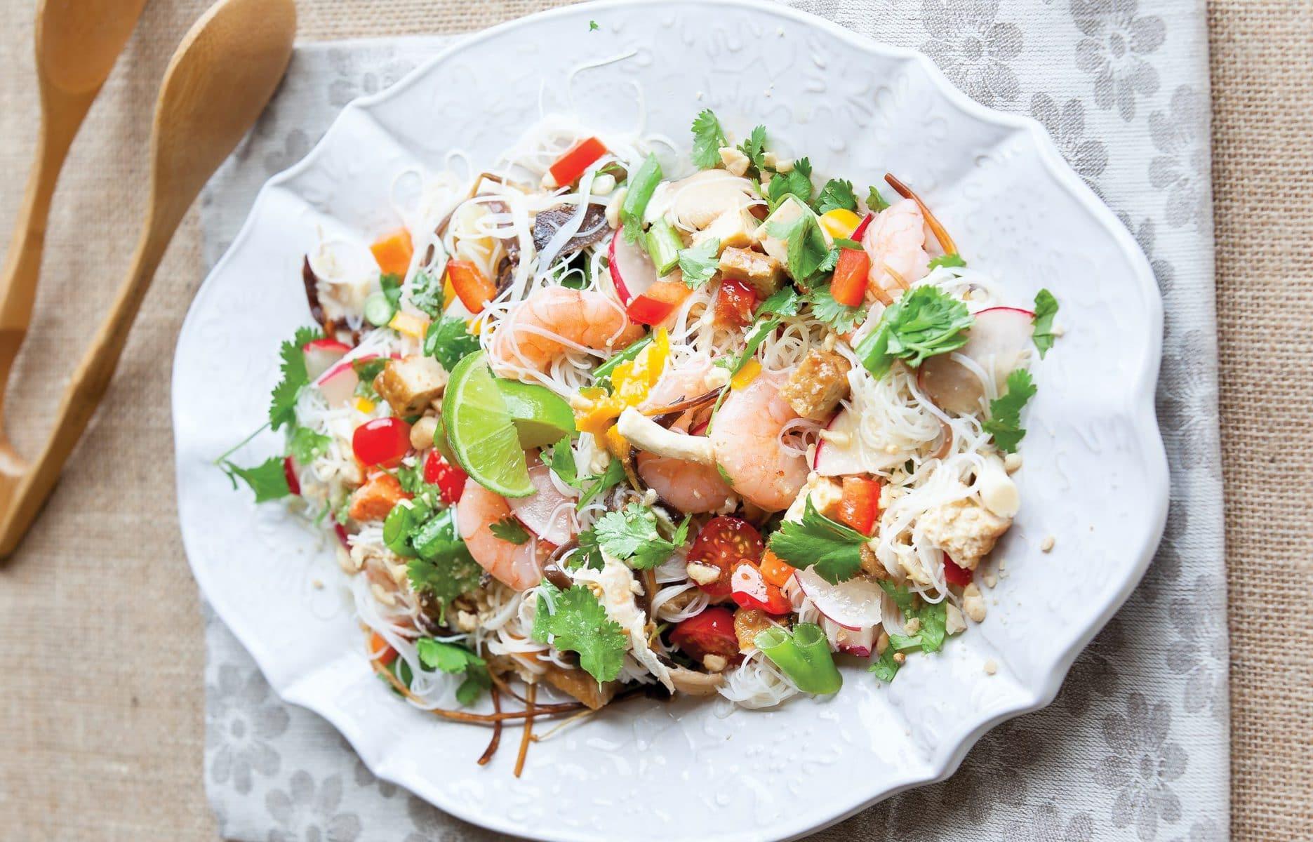 Prawn and tofu noodle salad