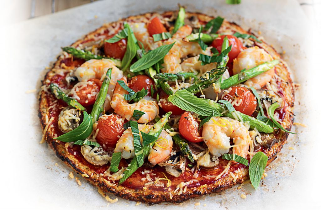 Prawn, asparagus and cherry tomato pizza with cauliflower crust