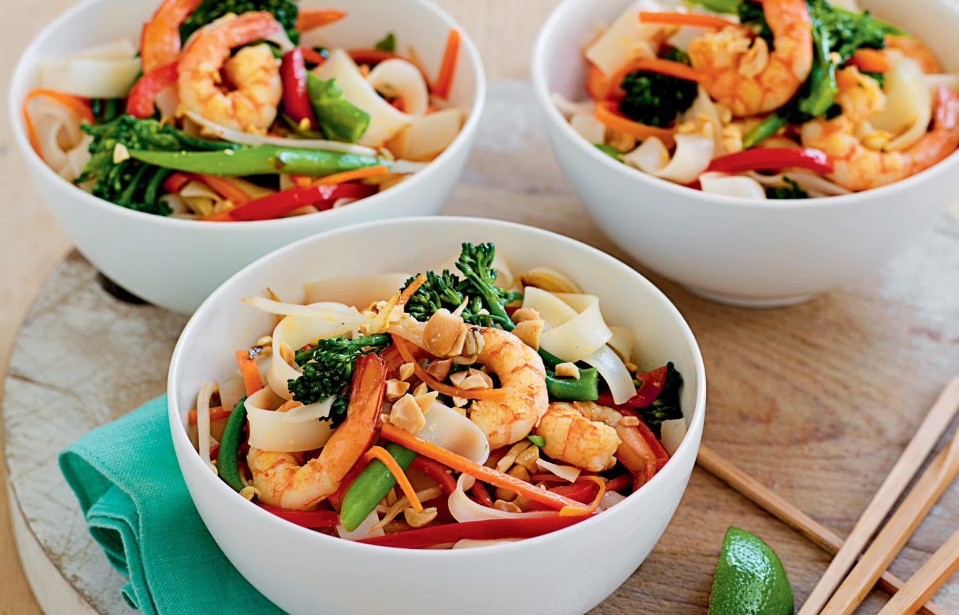 Prawn pad Thai with broccolini