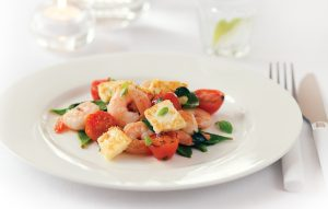 Prawns, snow peas, tomato and haloumi