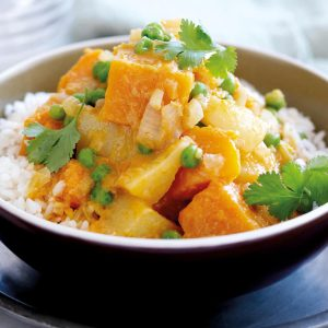 Pumpkin and potato curry with peas