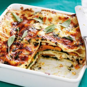 Pumpkin, feta and sage lasagne