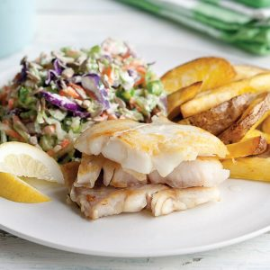 Quick fish and chips with rainbow wasabi slaw