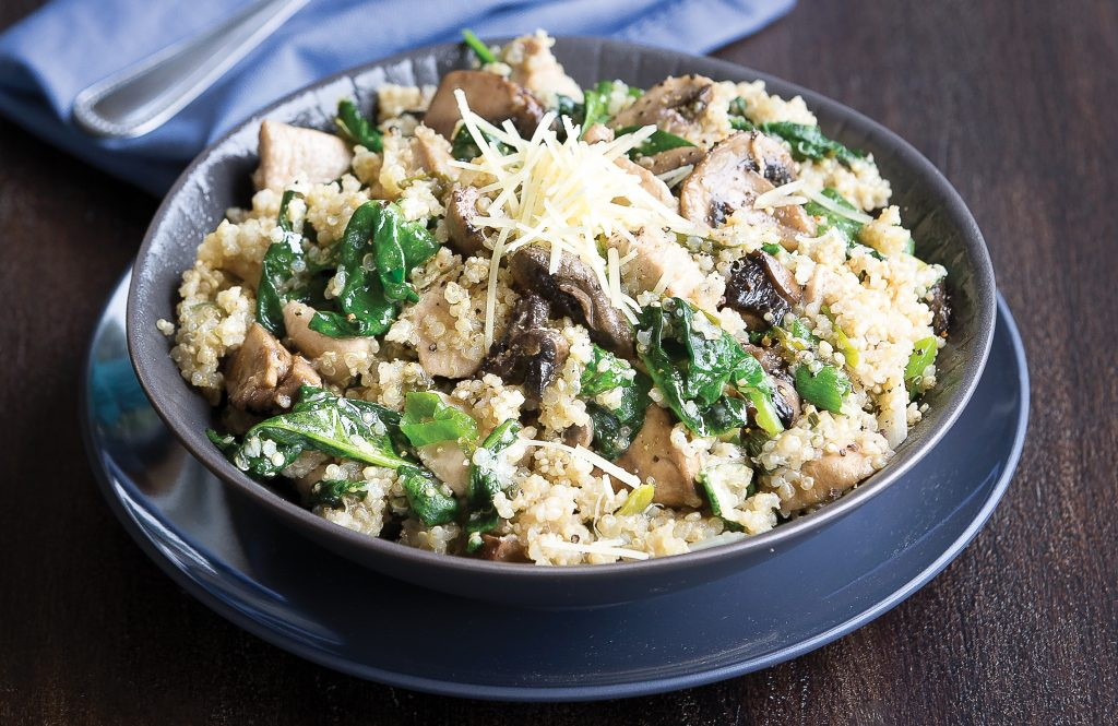Quinoa chicken, mushroom and parmesan risotto