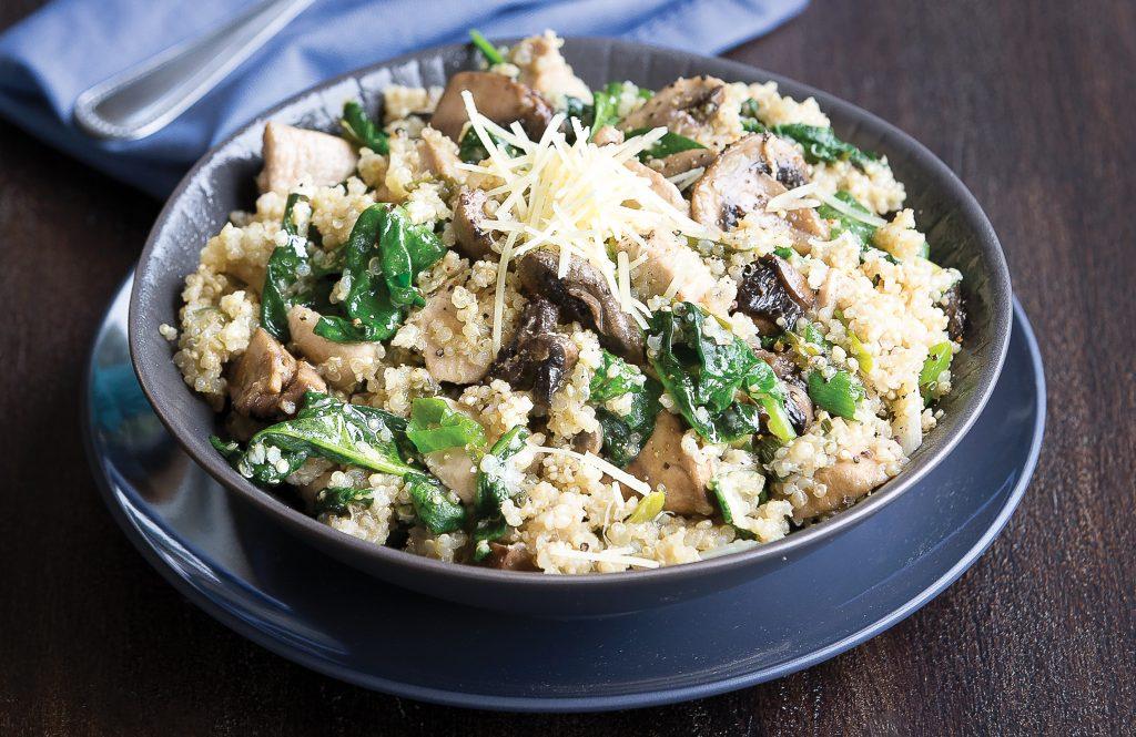 Quinoa chicken, mushroom and parmesan risotto