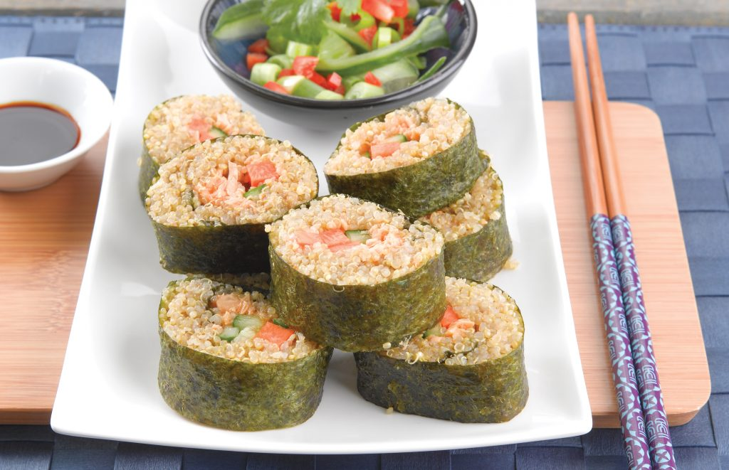 Quinoa sushi with chilli salmon
