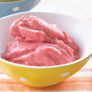 Raspberry and mango frozen yoghurt