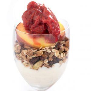 Raspberry and peach breakfast parfait