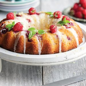 Raspberry lemon whisper cake