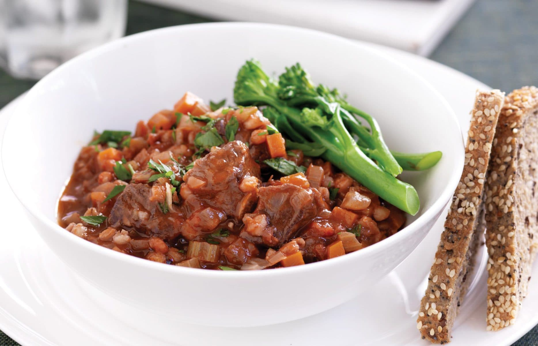 Red wine beef and pearl barley casserole