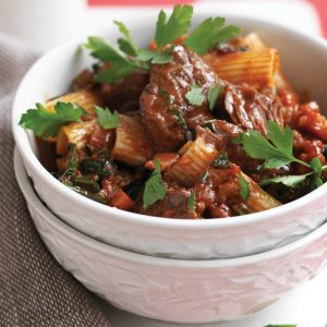 Rigatoni with slow-cooked beef ragu and silver beet