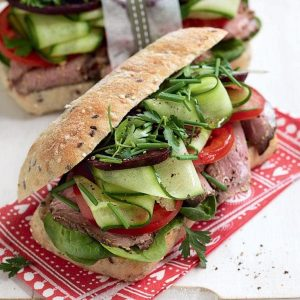 Roast beef, vege and mustard roll