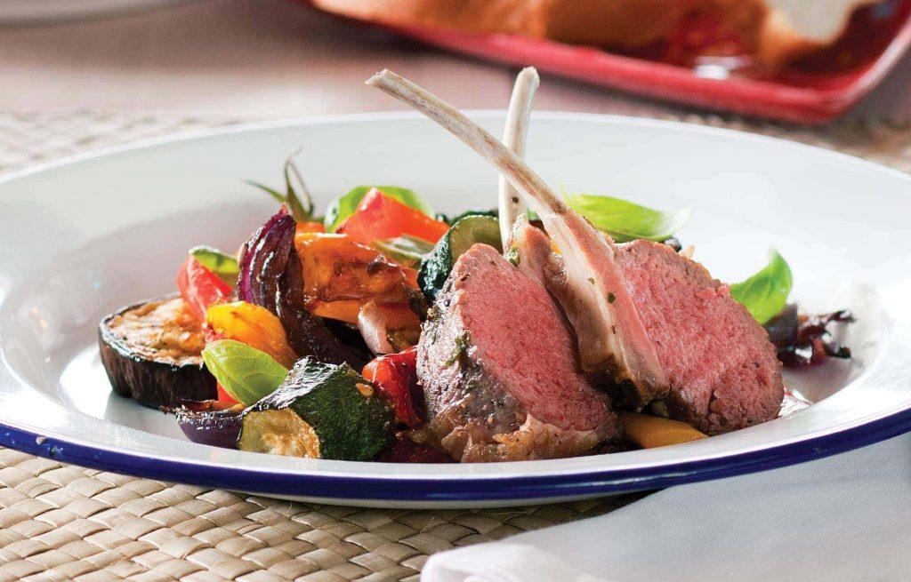 Roast ratatouille and lamb