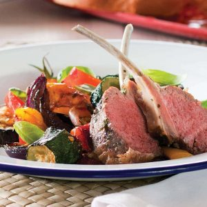 Roast ratatouille and lamb