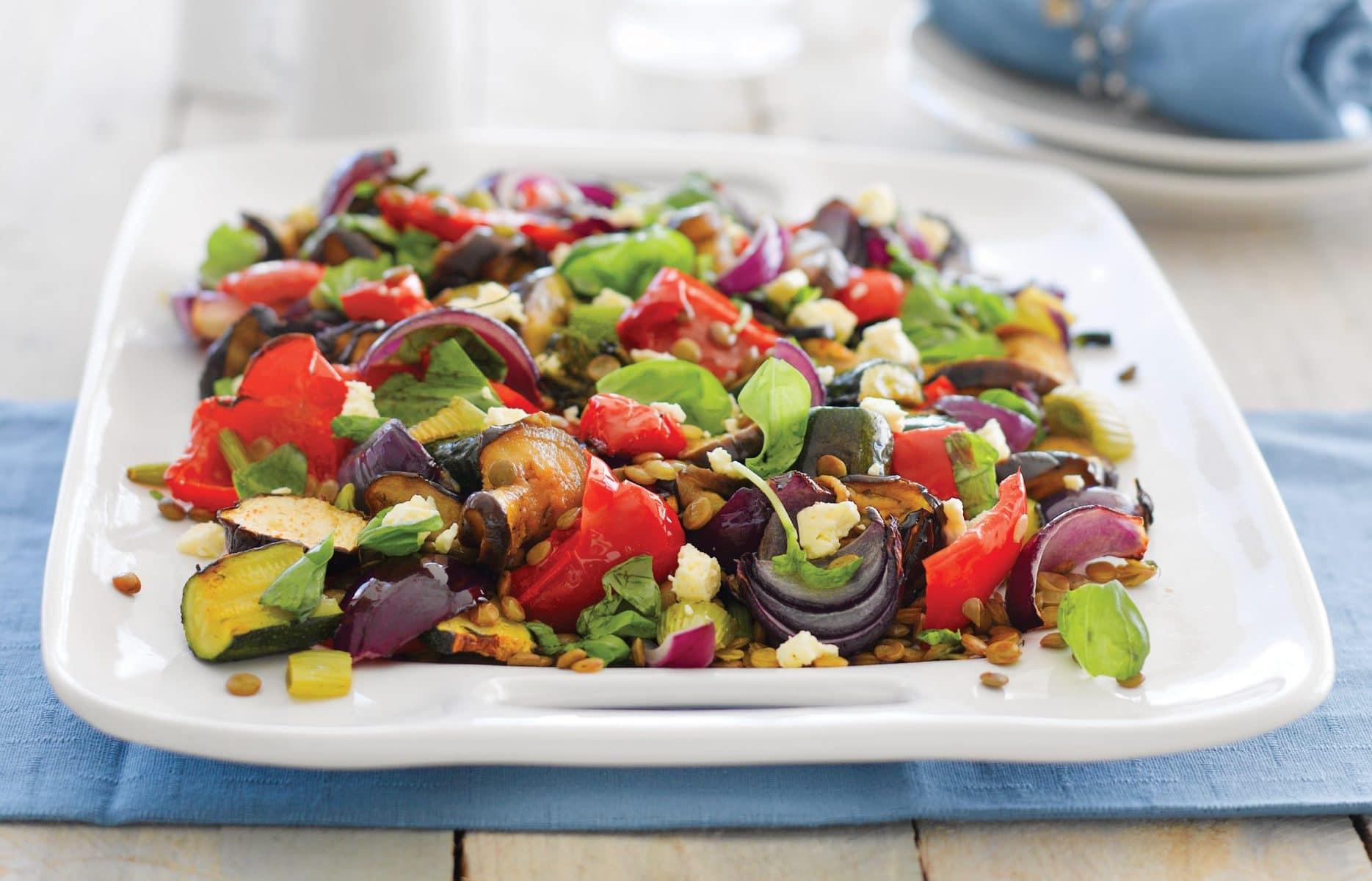 Roast vege and lentil salad