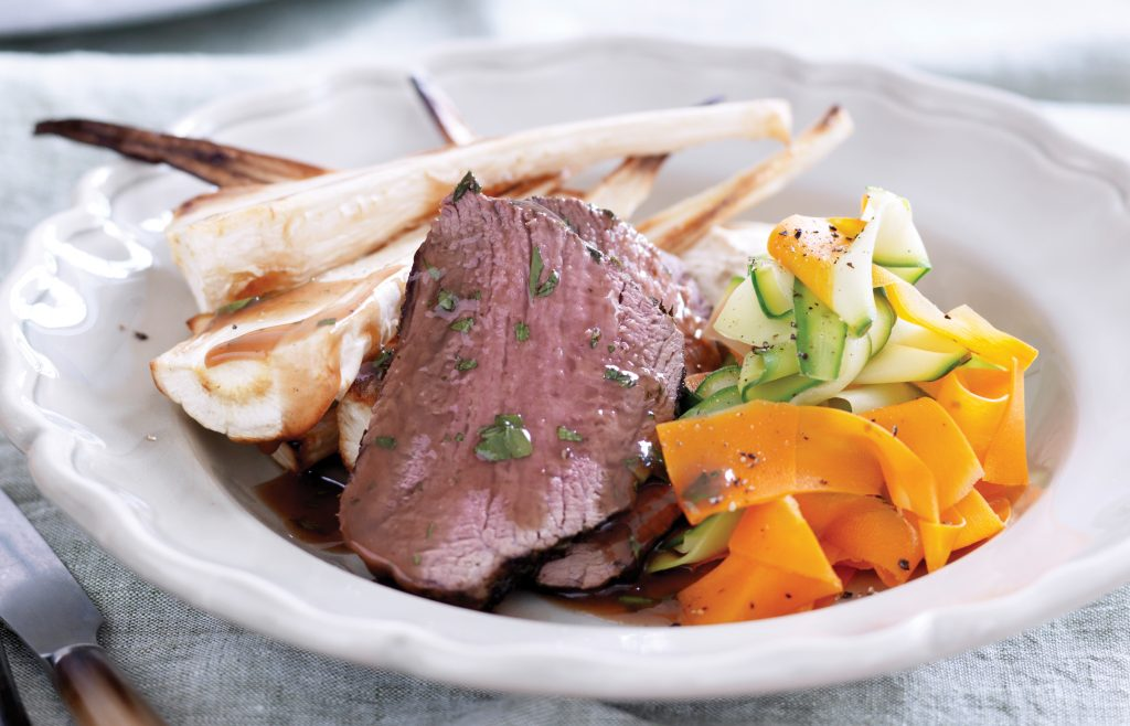 Roasted beef and winter veges with currant gravy