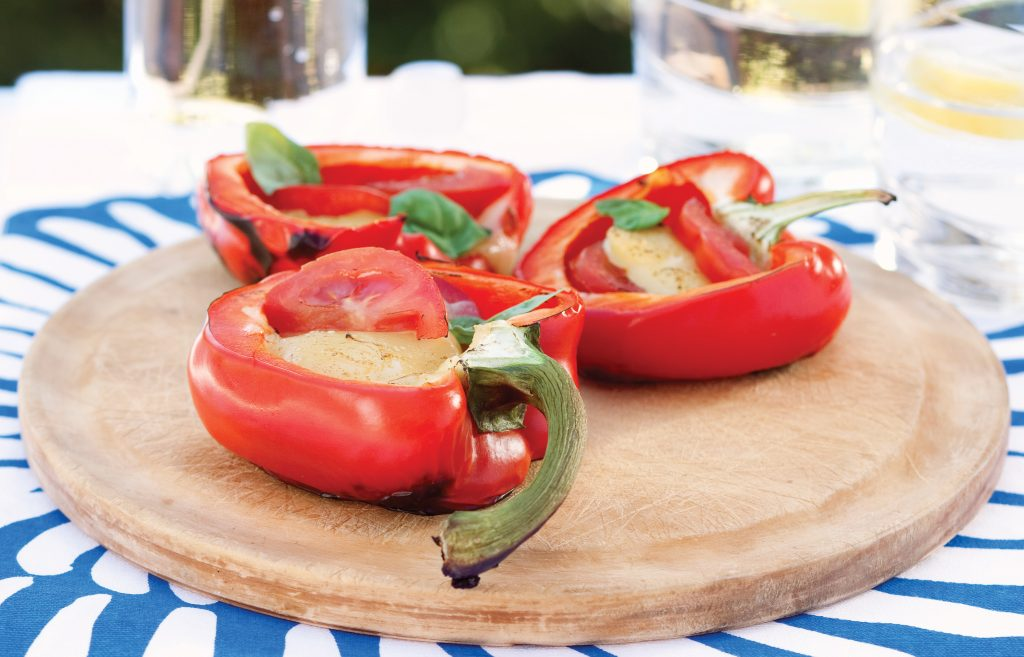 Roasted capsicums with mozzarella and tomatoes