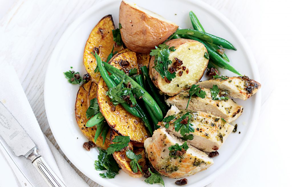 Roasted chicken and veges with parsley salad
