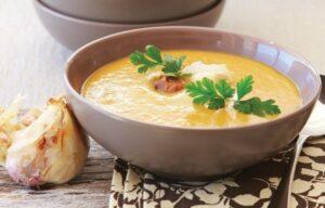 Roasted kumara and garlic soup