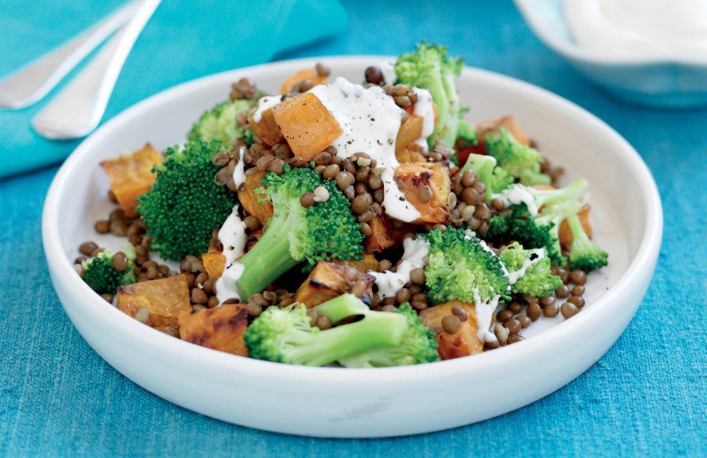 Roasted kumara, lentil and broccoli salad