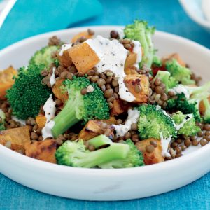 Roasted kumara, lentil and broccoli salad