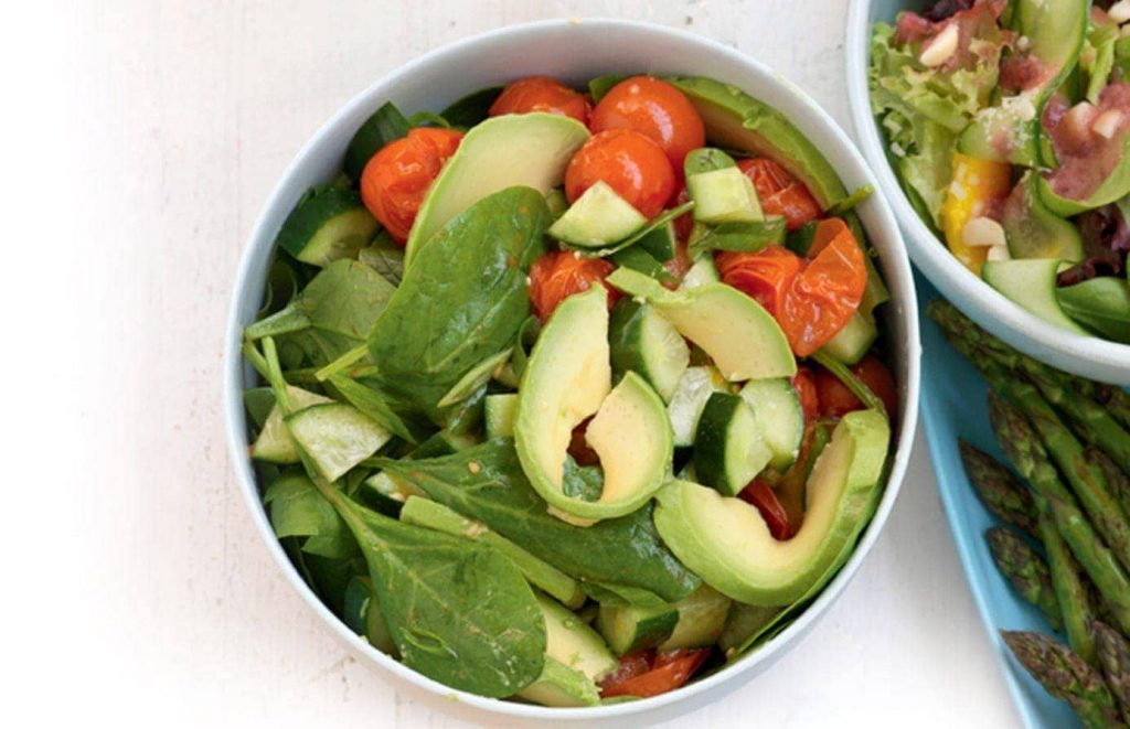 Roasted tomato and avocado salad