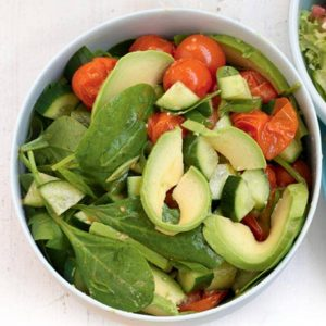 Roasted tomato and avocado salad