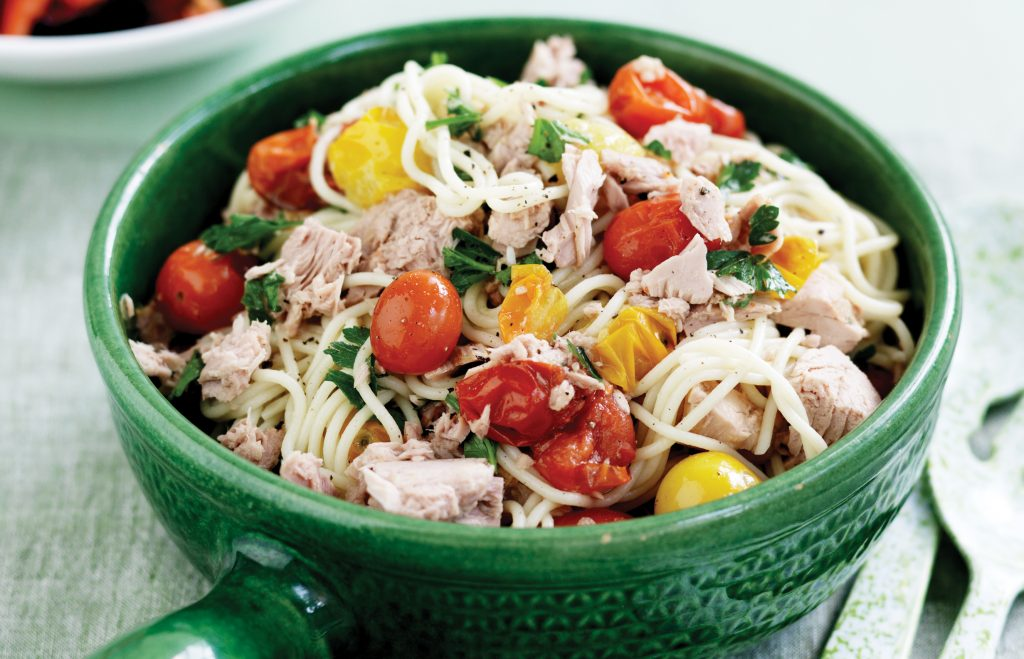 Roasted tomato and tuna spaghetti
