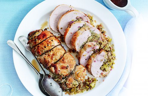 Roasted turkey with quinoa and celery stuffing