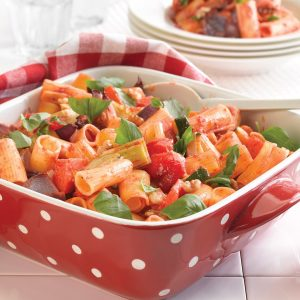 Roasted vege parmigiana pasta