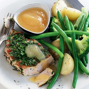 Rosemary-rubbed pork and apple sauce