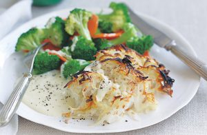 Rosti-topped fish with cheese sauce