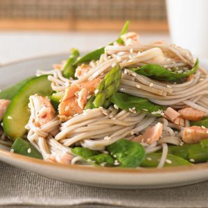 Salmon and asparagus soba noodles