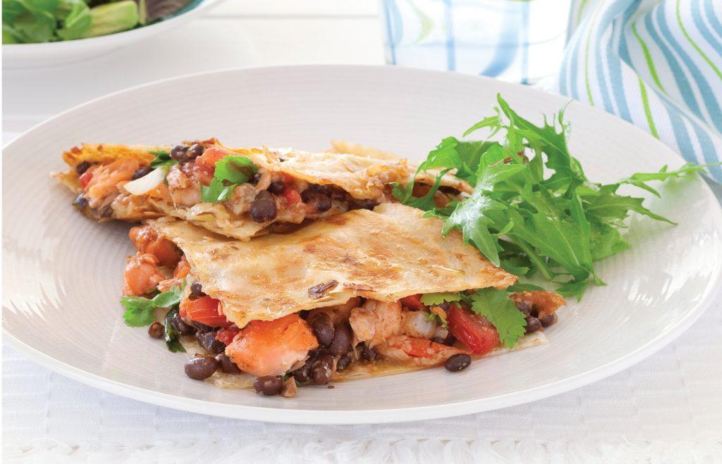 Salmon and bean quesadillas
