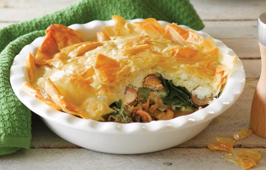 Salmon and mushroom scrunch pie