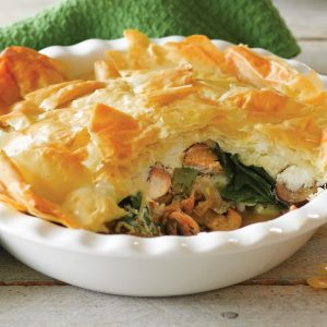 Salmon and mushroom scrunch pie
