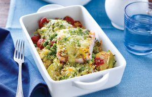 Salmon and risoni pasta bake