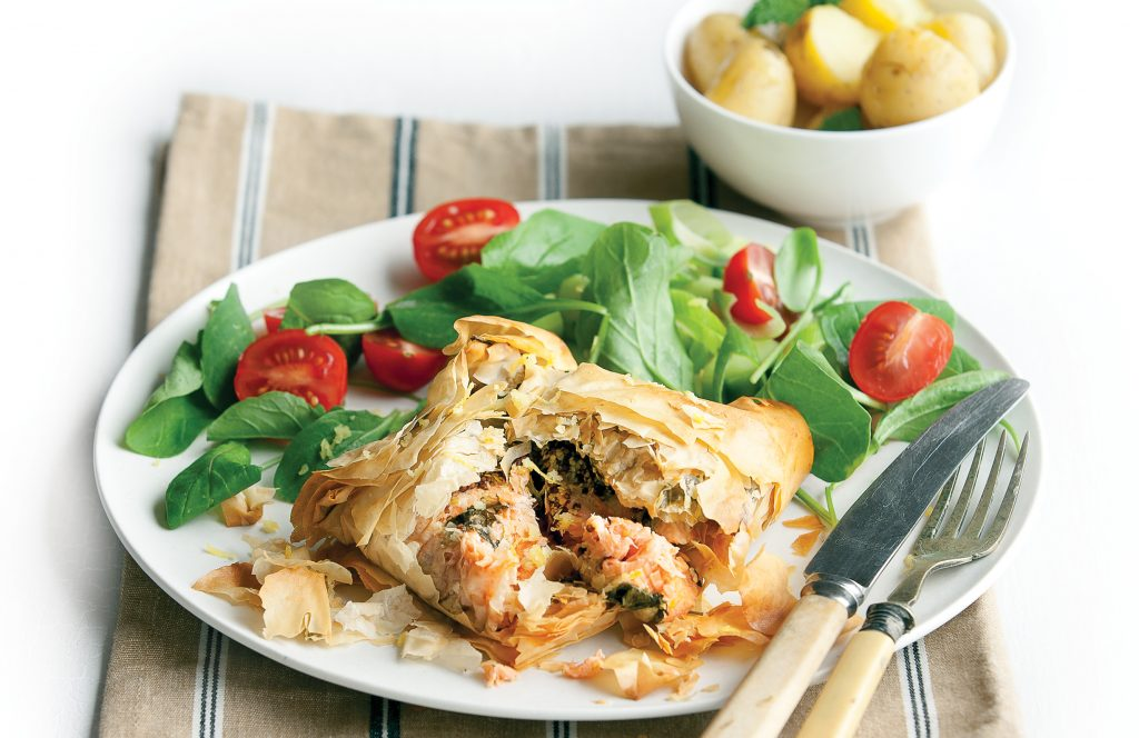 Salmon and rocket filo parcels