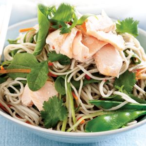 Salmon, cucumber and coriander noodle salad