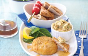 Salmon fish cakes with dip and pita chips