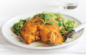 Salmon ginger cakes with green slaw